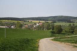 South overview of Štěměchy from hill, Třebíč District.jpg