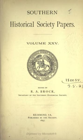 File:Southern Historical Society Papers volume 25.djvu