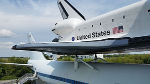 Space Center Houston - Image: Space Center Houston Shuttle atop Carrler