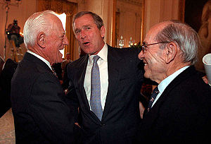 Sparky Anderson - George W. Bush chats with Anderson, left, and Yogi Berra.