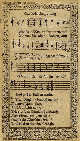 Es ist ein Ros entsprungen - First printed in the 1599 Speyer Hymnal