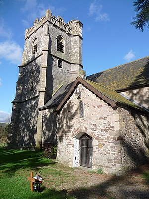 St. Brides Wentloog - Porch and Tower of the church at St. Brides, Church in Wales.