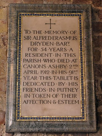 Dryden baronets - Sir Alfred Erasmus Dryden memorial, St Mary's, Putney, London