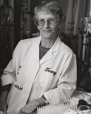 Thressa Stadtman - Thressa Stadtman in her lab, ca. 1970s