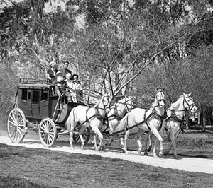 Knott's Berry Farm - Stagecoach circa 1950, added as the first ride in 1949