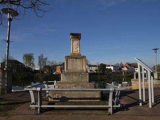 Staines-upon-Thames - The London Stone between the River Thames and Staines Old Town Hall
