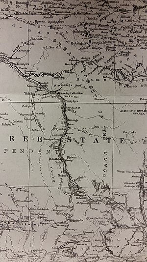 Lualaba River - The black line indicates Stanley's route.