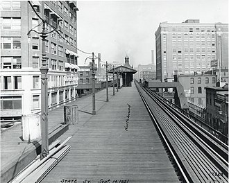 Aquarium station (MBTA) - BERy's Atlantic Avenue Elevated State Street station in 1921