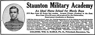 Staunton Military Academy - Advertisement circa 1916