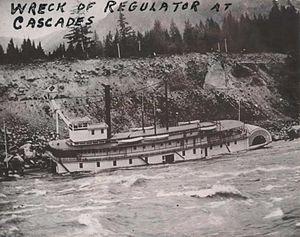 Regulator (sternwheeler) - Steamer Regulator wrecked at the Cascades Rapids, July 12, 1898.