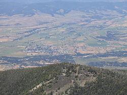 Stevensville y el río Bitterroot vistos desde Saint Mary's Peak (2005)