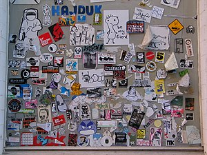 Sticker art - Image: Sticker window amsterdam 01