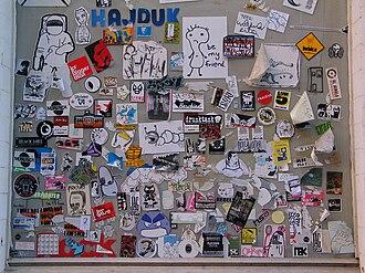 Sticker art - Image: Sticker window amsterdam 01