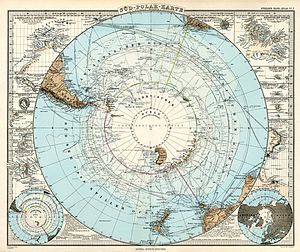 Chilean Antarctic Territory - German map of the Antarctica made in 1891 by Adolf Stielers Handatlas, published by Gotha: Justus Perthes