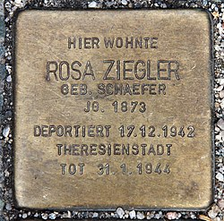 Photo of Rosa Ziegler brass plaque