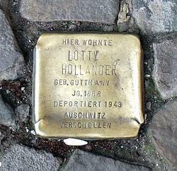 Photo of Lotty Hollander brass plaque