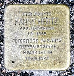 Photo of Fanny  Hertz brass plaque