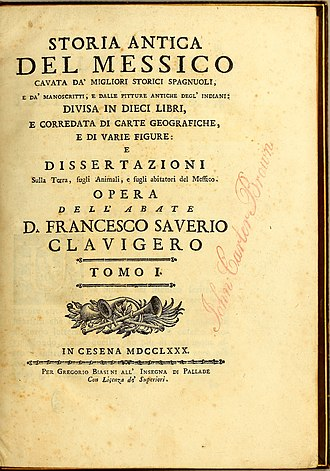 Title page of Italian 1780 edition of Storia antica del Messico Storia antica del Messico Francisco Javier Clavijero 1780 title page.jpg