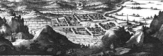 Åmål - An engraving of a somewhat idealised view of Åmal in Suecia Antiqua et Hodierna, from 1708.