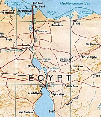 War of Attrition - Image: Suez canal map