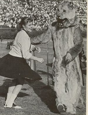 "Panthers of Pittsburgh - Cheerleader with ""the Pitt Panther"" at the 1956 Sugar Bowl."