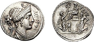 Sulla - AR Denarius (3.80 g, 5h). Rome mint. Front: Diana wearing cruciform earring and double necklace of pearls and pendants, and jewels in hair pulled into a knot; crescent above, lituus behind. Reverse: Sulla seated on a raised seat with a bound Jugurtha kneeling beside him; before him kneels Bocchus, offering an olive-branch. The coin portrays Sulla's first great victory, in which he ended the Jugurthine War.