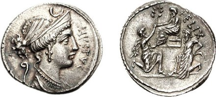 Denarius of Faustus Cornelius Sulla, 56 BC. It shows Diana on the obverse, while the reverse depicts Sulla being offered an olive branch by his ally Bocchus I. Jugurtha is shown captive on the right. Sulla Coin2.jpg
