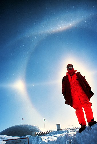 Halo display at the South Pole (1980), featuring a parhelion, 22deg halo, parhelic circle, upper tangent arc and Parry arc. Diamond dust is visible as point-like reflections of individual crystals close to the camera. Sun halo optical phenomenon edit.jpg