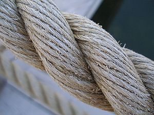 Three-strand twisted natural fibre rope