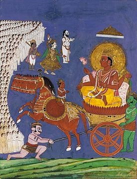 A 19th century Tanjore school painting of Surya on his chariot