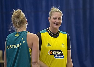 Abby Bishop - Suzy Batkovic and Abby Bishop (left) at day two of the Opals camp.