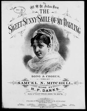 Samuel N. Mitchell - Sheet music cover for The Sweet Sunny Smile of My Darling (1877)