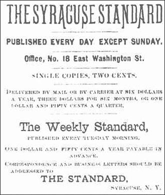 The Post-Standard - Syracuse Standard logo, January 3, 1884