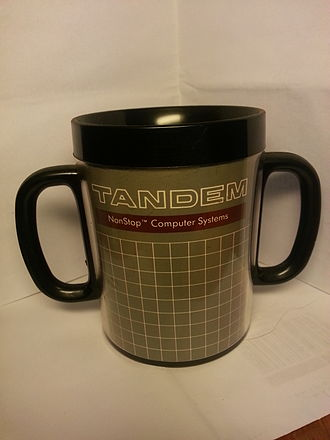 Tandem Computers - Original Tandem Computers promotional mug with two handles.