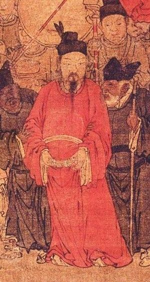 "Emperor Suzong of Tang - ""Greeting the Emperor at Wangxian"" 望賢迎駕圖, probably a 13th-century painting, detail of Tang Suzong."