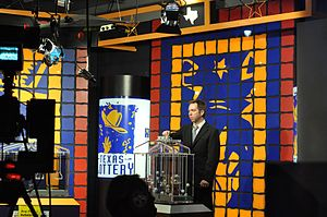 Gambling in Texas - A drawing being held at the Texas Lottery's television studio