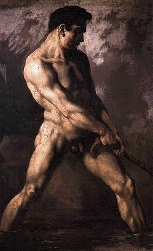 Oil sketch - Oil study of a male nude by Géricault
