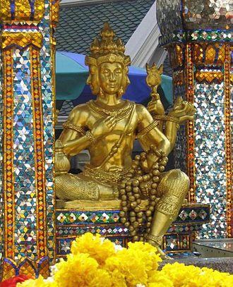 Erawan Shrine - Closer view of the four-faced Brahma (Phra Phrom) statue