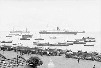 RMS Lancastria - RMS Lancastria (centre) at Funchal, Madeira, c. 1930.