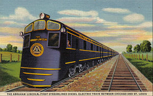 Abraham Lincoln (train) - Postcard depiction of the streamlined train.