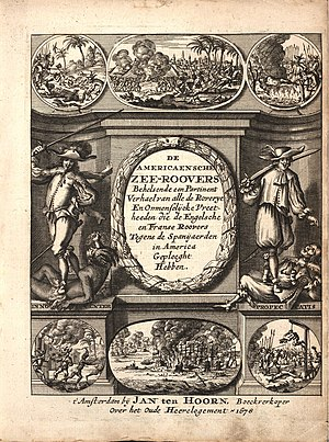 Alexandre Exquemelin - Frontispiece to 1st edition of Buccaneers of America, 1678