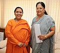 The Chief Minister of Rajasthan, Smt. Vasundhara Raje calls on the Union Minister for Water Resources, River Development and Ganga Rejuvenation, Sushri Uma Bharati, in New Delhi on July 02, 2014.jpg