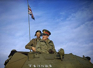 Commander-in-Chief, Home Forces - General Sir Bernard Paget inspecting a large-scale armoured exercise in Yorkshire, 1942.