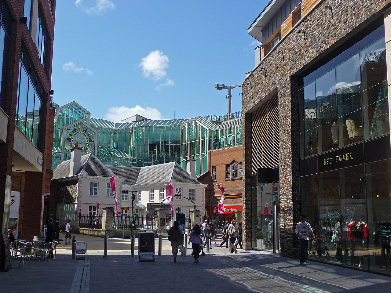 A view of Broadmead Galleries from Cabot Circus' Philadelphia Street