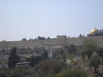 Eastern Wall - Eastern Wall of the Temple Mount showing Muslim cemetery along the wall