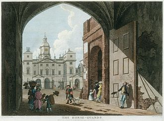 Edward Rooker - The Horseguards (1768 engraving by Rooker after his son M A Rooker)