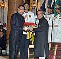 The President, Shri Pranab Mukherjee presenting the Padma Bhushan Award to Shri Rajat Sharma, at a Civil Investiture Ceremony, at Rashtrapati Bhavan, in New Delhi on March 30, 2015.jpg