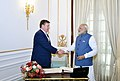 The Prime Minister, Shri Narendra Modi with the Prime Minister of the Republic of Latvia, Mr. Maris Kucinskis, at Hyderabad House, in New Delhi on November 03, 2017 (1).jpg