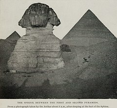 The Sphinx Between the First and Second Pyramids. From a Photograph Taken by the Author about 6 a.m., After Sleeping at the Foot of the Sphinx. (1911) - TIMEA.jpg