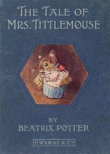A book cover depicting in its center a mouse in a gown in profile. At the top of the cover the title reads The Tale of Mrs. Tittlemouse and beneath the image of the mouse are found the author and publisher credits.
